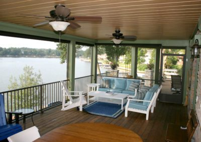 lake view covered patio wood decking extension