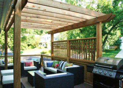 pergola canopy wood rafters back porch patio deck barbecue grill