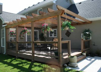 pergola canopy wood rafters back porch patio deck