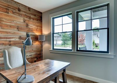 home office custom wood accent wall large pella windows