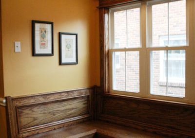 bench seating wooden windows