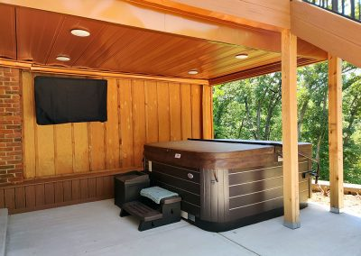 patio concrete wood hot tub outdoor